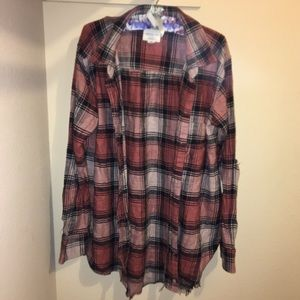 American Eagle Plaid Distressed Oversized Flannel